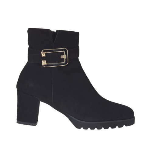 Woman's ankle boot with buckle and zipper in black suede heel 6 - Available sizes: