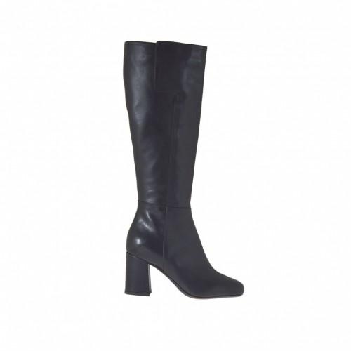 Bottes pour femmes en cuir noir avec fermeture éclair talon 7 - Pointures disponibles:  34