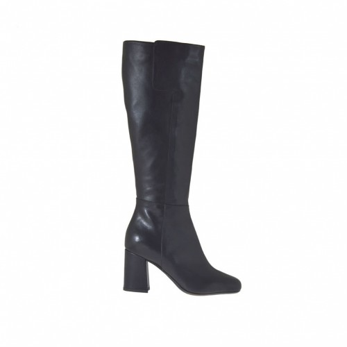 Woman's boot in black leather with zipper heel 7 - Available sizes:  34