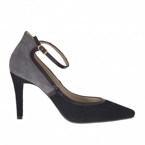 Escarpin pour femmes avec courroie en daim gris et noir cuir verni bordeaux talon 9 - Pointures disponibles:  42, 43, 44, 45, 46, 47