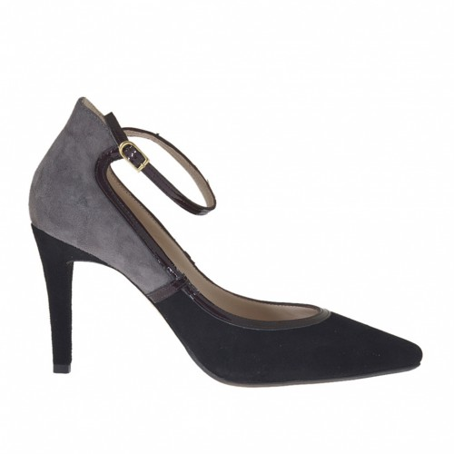 Woman's pump with strap in grey and black suede and maroon patent leather heel 9 - Available sizes:  42