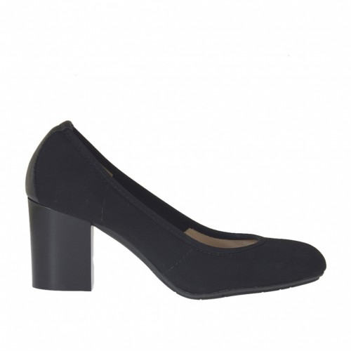 Woman's pump in black elastic fabric and leather heel 7 - Available sizes:  34, 45
