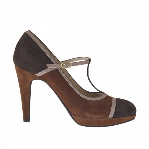 Woman's T-strap pump in dark brown and tobacco suede and powder patent leather with platform heel 9 - Available sizes:  44, 46, 47