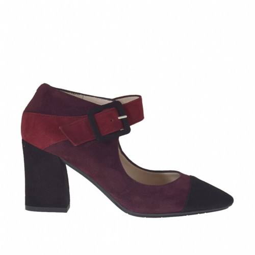 Woman's pump with strap in black, plum and maroon suede heel 8 - Available sizes:  42