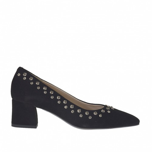 Woman's pump with strass in black suede heel 5 - Available sizes:  34, 42