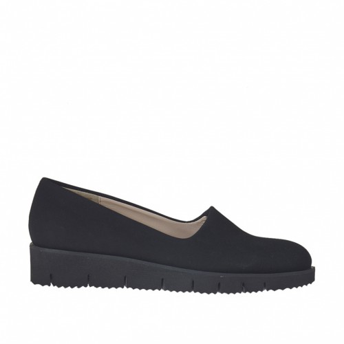 Woman's shoe in black elastic fabric wedge 3 - Available sizes:  44