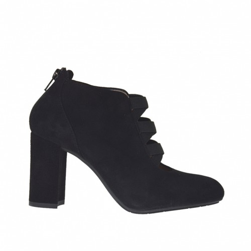 Woman's ankle-high shoe with zipper and elastic bands in black suede heel 9 - Available sizes:  31