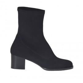 Damenstiefelette aus elastischem schwarzem Stoff Absatz 5 - Verfügbare Größen: 33