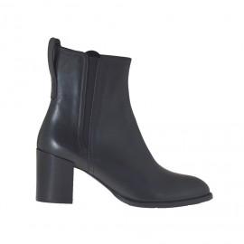 Stivaletto da donna con elastico e cernier in pelle nera tacco 7 - Misure disponibili: 34