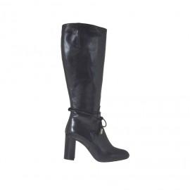 Bottes pour femmes avec fermeture éclair et lacets en cuir noir talon 8 - Pointures disponibles:  43, 44