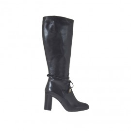 Woman's boot with zipper and laces in black leather heel 8 - Available sizes:  43, 44
