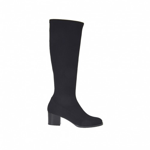 Woman's boot in black elastic fabric heel 5 - Available sizes:  34