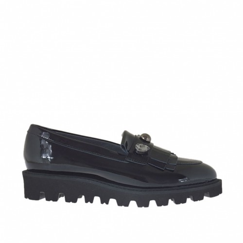 Woman's mocassin with fringes, strass and studs in black patent leather wedge 3 - Available sizes:  32, 33, 34