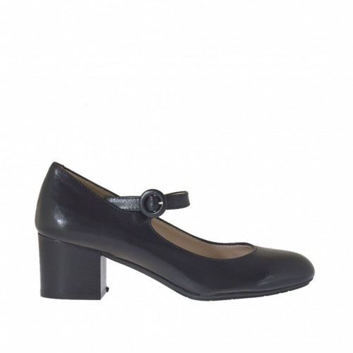 Woman's pump with strap in black leather heel 4 - Available sizes:  32, 42, 44