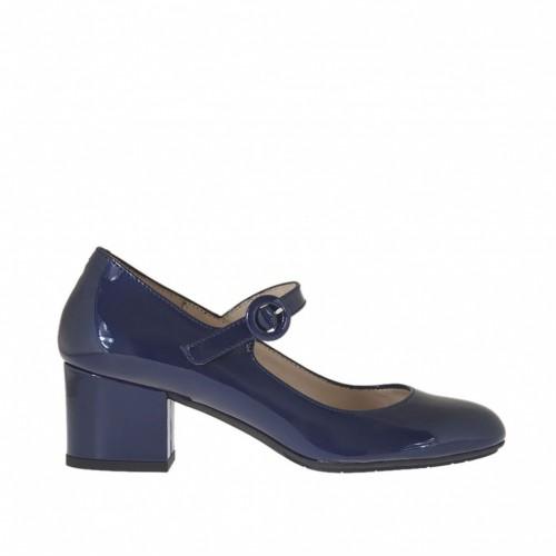 Zapato de salón para mujer con cinturon en charol azul tacon 4 - Tallas disponibles:  32, 34, 42