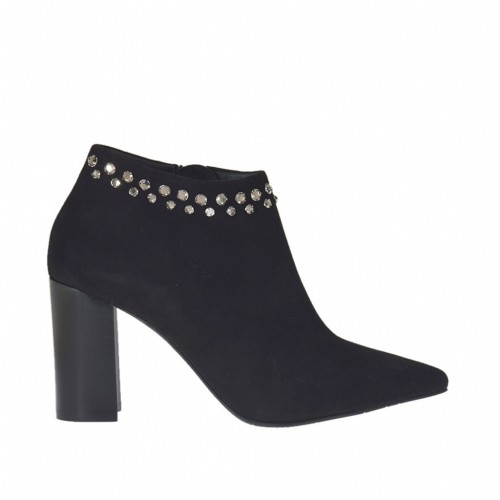 Woman's ankle boot with zipper and strass in black suede heel 7 - Available sizes:  31, 32, 34, 43, 44, 47