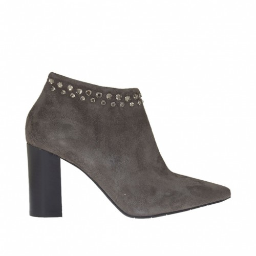 Woman's ankle boot with zipper and strass in taupe suede heel 7 - Available sizes:  31, 42, 43, 44