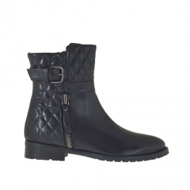 Woman's ankle boot with zippers and buckle in black leather and quilted leather heel 2 - Available sizes: 33