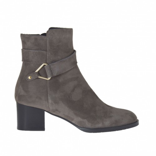 Woman's ankle boot with zipper and buckle in taupe suede heel 5 - Available sizes: 32, 33, 42, 43, 45