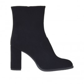 Woman's ankle boot with zipper in black velvet heel 7 - Available sizes: 31, 33, 43