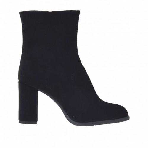 Bottines pour femmes avec fermeture éclair en velours noir talon 7 - Pointures disponibles:  31