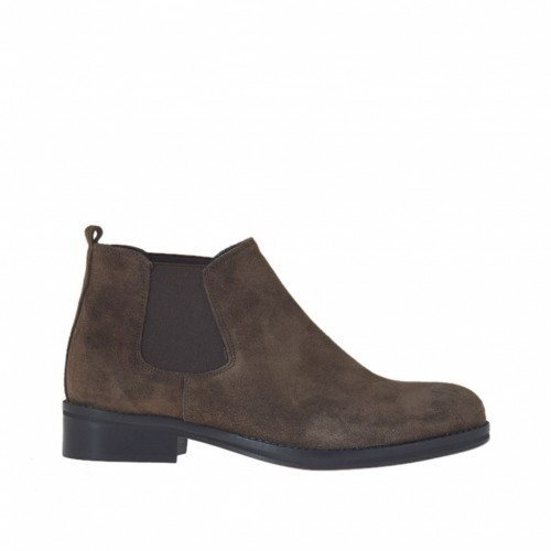 Woman's closed shoe with elastic bands in brown suede heel 2 - Available sizes:  47