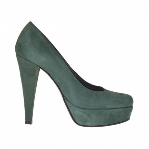 Escarpin pour femmes avec plateforme en daim vert talon 10 - Pointures disponibles:  31, 32, 47
