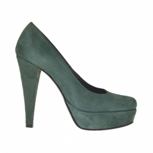 Woman's platform pump in green suede heel 11 - Available sizes: 31, 32, 34, 43, 47