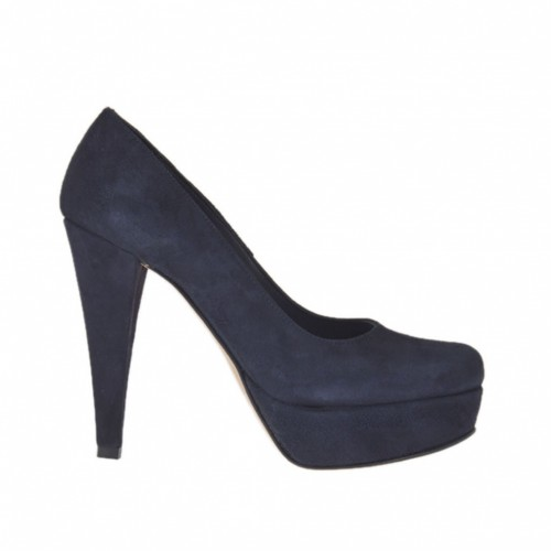 Woman's platform pump in blue suede heel 10 - Available sizes:  44, 46, 47