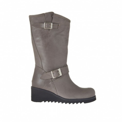 Woman's ankle boot with buckles in taupe leather wegde heel 5 - Available sizes:  43, 44