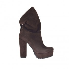 Woman's ankle boot with turnover and platform in dark brown suede heel 10 - Available sizes: 32, 42, 43, 44, 46, 47