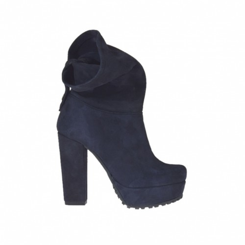 Woman's ankle boot with turnover and platform in blue suede heel 10 - Available sizes:  42