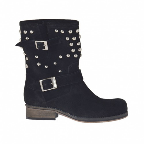 Woman's ankle boot with buckles and studs in black suede heel 2 - Available sizes:  33, 34