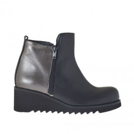 Woman's ankle boot with zippers in black and lead grey leather wedge heel 5 - Available sizes: 42, 45