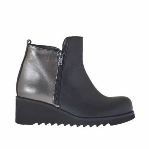 Woman's ankle boot with zippers in black and lead grey leather wedge heel 5 - Available sizes:  42