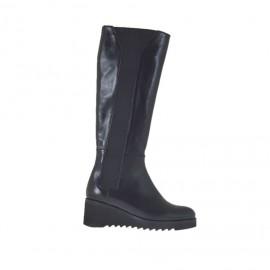 Woman's boot with elastic bands in black leather wedge heel 5 - Available sizes: 42, 43, 45, 47