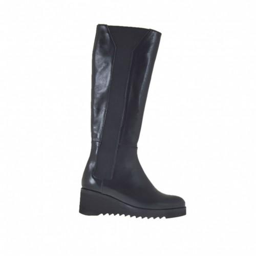 Bottes pour femmes avec élastiques en cuir noir talon compensé 5 - Pointures disponibles:  42