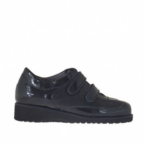 Woman's shoe with velcro straps in black leather and patent leather wedge heel 3 - Available sizes:  33, 34, 42