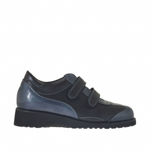 Woman's shoe with velcro straps in black leather and aviation blue patent leather wedge heel 3 - Available sizes:  33, 34, 42, 43