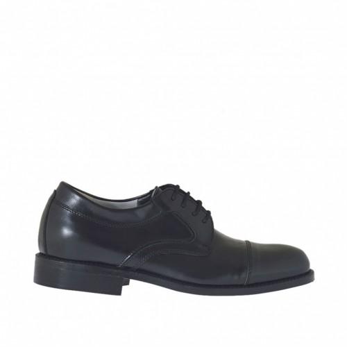 Chaussure élégante à lacets mode derby pour hommes en cuir noir - Pointures disponibles:  37, 38