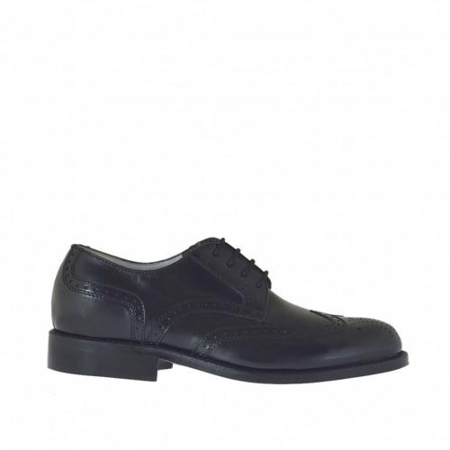 Chaussure derby pour hommes à lacets avec decorations en cuir noir - Pointures disponibles:  37, 38, 48