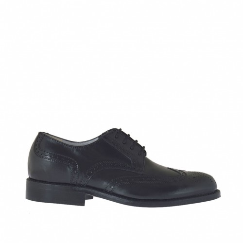Men's laced derby shoe with decorations in black leather - Available sizes:  37, 38, 48