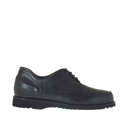 Laced men's shoe in black leather - Available sizes:  38, 50