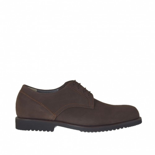 Men's sports shoe with laces in brown nubuck leather - Available sizes:  47