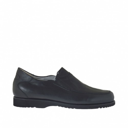 Men's shoe with zippers in black leather - Available sizes:  50