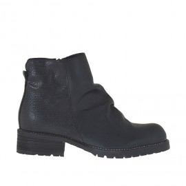 Woman's ankle boot with zipper in black leather and printed leather heel 3 - Available sizes: 33, 34, 45