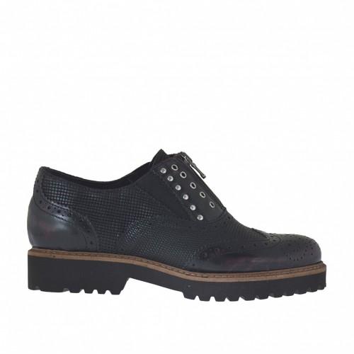 Chaussure fermée pour femmes avec fermeture èclair, elastiques et goujons en cuir imprimé noir et cuir brossé bordeaux talon 3 - Pointures disponibles:  34