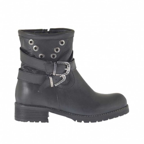 Woman's ankle boot with zipper, buckles and studs in black leather heel 3 - Available sizes:  32, 33