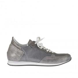 Scarpa sportiva stringata da donna in pelle stampata argento e grigio acciaio zeppa 2 - Misure disponibili: 34, 42, 43, 44