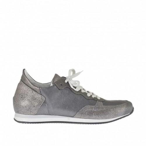 Chaussure sportif à lacets pour femmes en cuir imprimé argent et gris acier talon compensé 2 - Pointures disponibles: 34, 42, 43, 44